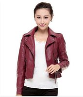 Wholesale Motorcycle Jackets Leather Classic - 2016 Autumn Fashion Classic New Arrive Women Pu Leather Jackets Zipper Slim Short Outwear Turn Collar Motorcycle Coat Black Red Size S-4XL