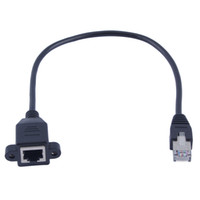 Wholesale 30cm M RJ45 Cable Male to Female Screw Panel Mount Ethernet LAN Network Extension Cable
