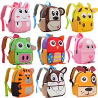 10 bambini di stile 3D Cute Animal Design Zaino Toddler Kid Neoprene School Bags Kindergarten Cartoon Confortevole borsa giraffa scimmia gufo