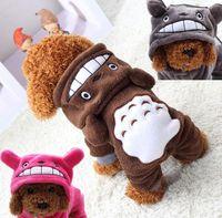 Wholesale dogs jumpsuit fleece - Cute Totoro Fleece Pet Cat Clothing Dog Costume Apparel Dog Jumpsuit Pants Puppy Winter Coat Jacket Hoodies Soft Warm 1PC