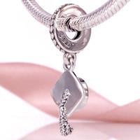 Wholesale Graduation Pendant Necklace - Authentic 925 Sterling Silver Beads Graduation Pendant Charm Fits European Pandora Style Jewelry Bracelets & Necklace 791892