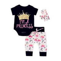 Wholesale Boutique Pants - 2017 Girls Baby Rompers Clothing Sets Crown Newborn Onesies Pants Headbands 3pcs Set Summer Toddler Romper Outfits Infant Boutique Clothes
