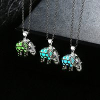Wholesale Elephants Pendants - Statement necklaces & pendants silver necklace for women jewelry for girls glow in the dark Elephant with gift boxNK-61