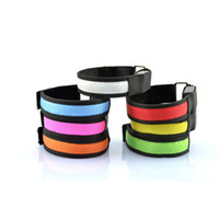 Wholesale Led Light Belt Reflective - High Visibility Outdoor Sports Safety LED Armband Lighted Armband Flash Belt Luminous Reflective Lattice Flashing Arm Band 8 Color Available