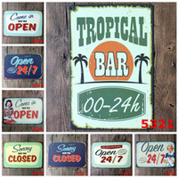 Wholesale Bbq Signs - Vintage 20*30cm Europe Iron Paintings Welcome Closing Card Tin Poster For Bar BBQ Shop Store Decoration Metal Tin Sign Popular