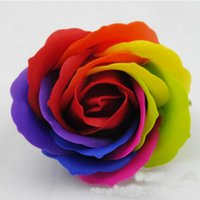 Wholesale Good Party Flowers - Rainbow 5 Colorful Rose Soaps Flower Packed Wedding Supplies Gifts Event Party Goods Favor Toilet Soap Scented Bathroom Accessories