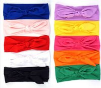 Wholesale headbands turban style - 10 pcs lot New New Headband Knot Tie Headwrap Kids Hairband Turban Photo Prop stretchy Girls Hair Accessories Summer Style xth152