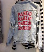 jeans mes venda por atacado-2019 Novo Kanye West Denim Jaqueta de Qualidade Superior Pablo Denim Jaquetas Homens Hip Hop Streetwear Jaquetas Jeans Me sinto Como