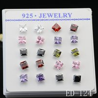 Wholesale Square Stud Charm - 10pars Luxury Best Sale 925 Sterling Silver Square Shape Zircon Earrings for women Mixed Stud Earrings Charms Ear Jewelry