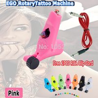 Wholesale Rotary Tattoo Pink - Wholesale- 2015 HOT Ego Tattoo Machine Rotary Tattoo Motor Machine Gun L &S for Tattoo Kits pink 1pcs RCA Clip cord Free Shipping