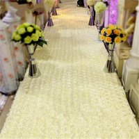 Wholesale Napkin Rings Dhl Shipping - 33 Feet Long 55 Inch Wide Milk White 3D Rose Petal Aisle Runner Carpet For Wedding Centerpieces Decoration Shooting DHL free shipping