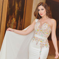 Wholesale Taffeta Wrap Jacket - 2017 Nisreen Tafesh One Shoulder Evening Dresses Side Split Colorful Lace Appliques with Flare Sleeves Beaded Prom Gowns