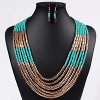 Wholesale Weave Earrings - Fashion African Beads Jewelry Set Multilayer Weave Bohemian Resin Bead Nigerian Necklace Earring Set For Women HD-005
