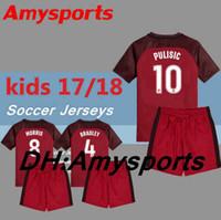Wholesale Boys 14 Shirt - 2018 kids PULISIC Soccer Jersey set 17 18 youth boy PULISIC kits 8 DEMPSEY 18 HARRIS 14 DWYER 15 BECKERMAN 13 MORGAN Football shirt