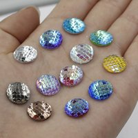 Wholesale Shiny Silver Plated Beads - 12mm Shiny Round Mermaid Scale Resin Cabochon Flat Back Beads For DIY Fine Jewelry Making Mixed 12 Colors