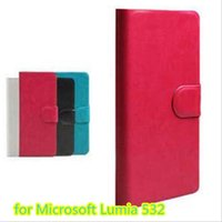 Wholesale Touch Pen For Lumia - Hot Sell Original PU Leather Flip Cover Case For Microsoft Lumia 532 Cell Phones Holster +Touch Pen Gift