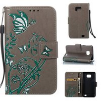 Wholesale Galaxy S2 Case Flower - Hot sale Wholesale and Retail Fashion Colorful Butterfly Flowers Flip Leather Wallet Case For samsung galaxy S2 9100
