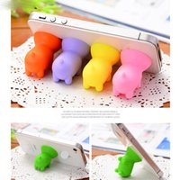 Wholesale Standing Universal Socket - 100Pcs Cute Piggy Silicone Stand Holder for Smart Phone Rubber POP Cartoon Pig Socket Mount for iPhone 5 5s 6s 7 Plus