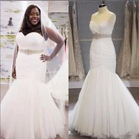 Wholesale Diamond Bridal Belts - Plus Size Mermaid Wedding Dresses Sweetheart Diamonds Beads Belt Pleated Tulle 2017 New Elegant Bridal Gowns Vestido de Noiva