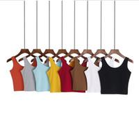 Wholesale Basic Crop Tank Top - 2017 hot sales tank tops for women Scoop Neck Crop Top Shirts Womens Basic Short Sleeve Scoop neck Crop Top