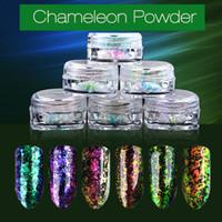 Wholesale Transparent Nail Arts - New 1 Box 0.2g Transparent Chameleon Flakes Multichrome Nail Powder Shimmer Nail Art Glitter Dust Galaxy Glitter Manicure 2017