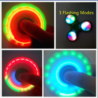 Wholesale Led Smokes - 50pcs LED Fidget Spinner Btaman with Switch Turn on and OFF Flashing Colors replaceable Battery Spinners Hand Spinners Toy Giving up Smoking