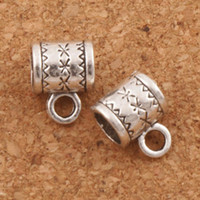 Wholesale Bail Bead Charms - Flower Bail Metals Loose Beads With Loops 250pcs lot 8X10mm Tibetan Silver For European Charm Bracelet