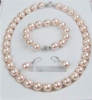 Wholesale Southsea Shell Pearl Silver - natural southsea shell Orb pearl 12 MM pink shell necklace bracelet earring