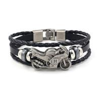 Wholesale wood beads bracelet accessories for sale - Retro Alloy Motorcycle Cowhide Bracelets for Men Punk Leather Bracelet Beaded Charm Bracelets Fashion Jewelry Hand Accessories