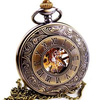 Wholesale Skeleton Pocket Watch Roman Numerals - Wholesale- WOONUN Top Brand Luxury Steampunk Skeleton Mechanical Pocket Watch For Men Fashion Mechanical Clock Watch Roman Numeral Dial