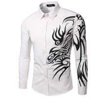Wholesale Mens Dragon Dress Shirts - Wholesale- Men Shirt Long Sleeve 2017 Brand Men Shirts Casual Male Slim Fit Solid Color Printing Dragon Chemise Mens Camisas Dress Shirts C