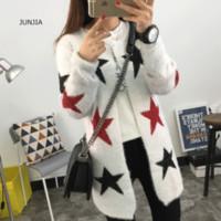 Wholesale Crochet Pattern Long Sweater - Wholesale- 2016 New Women Sweater Coat Cardigans Stars Pattern Printed Casual Long Sweater Loose Warm Knitted Outwears Crochet Sweater
