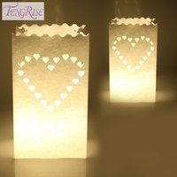 Wholesale Tea Paper Lanterns Party Decorations - FENGRISE 10PCS Wedding Heart Tea Light Holder Luminaria Paper Lantern Candle Bag Home Valentines Day Gifts Party Decoration