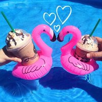 Wholesale Swimming Bath - Mini Inflatable Flamingo Coasters Floating Drink Can Holders in Swimming Pool for Party Kids Bath Toy