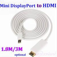 Wholesale Hdmi Cable Mini Displayport 3m - 250pcs lot * 1.8M 3FT   3M 10FT Thunderbolt Mini DisplayPort Male MINI DP to HDMI Male Converter cable For Apple Macbook Mac Pro