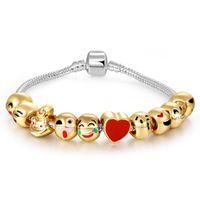 Wholesale Cartoon Beaded Bracelets - wholesale cheap fashion popular Cartoon emoji bracelets beads for Pandora design gold bangles cute women bracelets