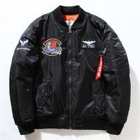 Wholesale Usaf Print - NASA Mens MA1 Bomber Jacket Insignia USAF Kanye West Hip Hop Sport Male Windbreaker Jacket Flag Mens Spring Thin section Jacket 01