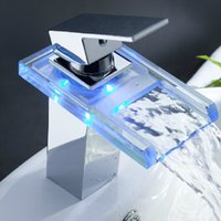 Wholesale LED Waterfall Bathroom Faucet Digital Mixer Tap Basin Sink Faucet  With Single Handle One Hole