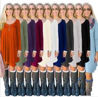 Wholesale Wholesale Blouse Dresses - Women Casual Blouse Long Sleeve Fashion T Shirt Loose Short Dress women Blouse Clothes 7 color KKA2726