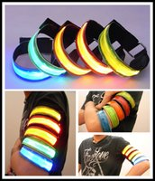 Wholesale Reflective Led - Colorful LED Light Arm Band Safety Reflective Bracelets Nocturnal Running Security Flashing Wrist Band Fluorescence Webbing Flash Armband