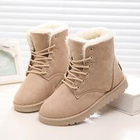 Wholesale Ladies Suede Lace Up Boots - Wholesale-Women Boots Snow Warm Winter Boots Botas Lace Up Mujer Fur Ankle Boots Ladies Winter Shoes Black