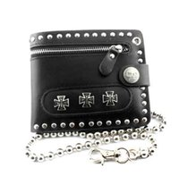 Hot Sale Men's Biker Punk studded Zipper Biflod Cross Carteira de couro preto com chave longa