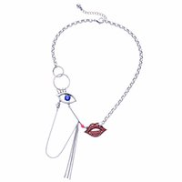 Wholesale Lips Chain Necklace - Hyperbole Jewelry Blue Eye Red Crystal Lip Maxi Collier Pendant Necklace Silver Color Chain Tassel Match stick Chunky Necklace