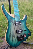 Wholesale Headless Neck - NK Luminous Material steinberger style Model headless Electric Guitar blue burst Color Flame maple Neck stock Guitar