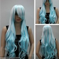 Nouveau long blanc bleu clair Mix Curly Full Cosplay perruque