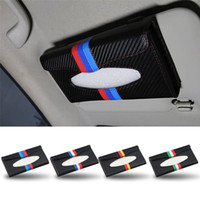 Wholesale Universal Auto Sun Visor - Carbon Fiber Sunshade Tissue Holder German France Italy Flag Auto Sun Visor Napkin Organiser Box Universal for BMW Benz Ford Toyota VW