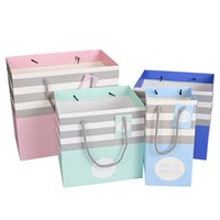 Wholesale Large Vacuum Bags - Gift Bags Fashion Stripe Paper Bag For Vacuum Cup 3 Sizes 4 Colors To Choose Paper Bags With Handles Festival Supplies Large Size