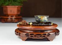 ingrosso legno buddista-Trasporto di goccia Bruciatore di incenso antico Base di legno Nero Catalpa Legno Frutto Frutto di legno Ornamenti artigianali Base Forniture buddista