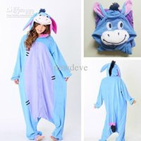 Симпатичные дешевые на складе Halloween Bridal Undergarments Пижамы Костюмы для животных Unisex Adult Blue Donkey Cosplay Warm Sleepwear