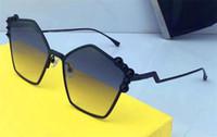 nouvelle décoration de lumières achat en gros de-Nouvelle mode lunettes de soleil monture irrégulière monture de style avant-gardiste de qualité supérieure, protection UV, verres de décoration de couleur claire